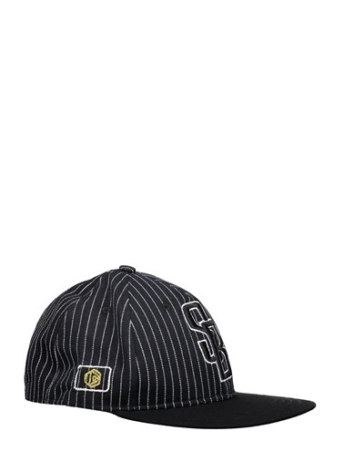 Collezione Collezione Çizgili Harf Işlemeli  Erkek Şapka Siyah